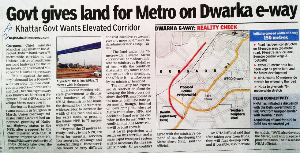 Govt Gives Land For Metro On Dwarka e-Way